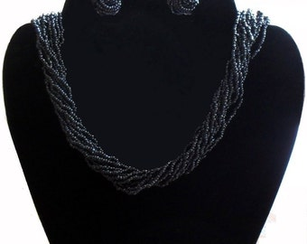 Necklace Earring Set Charcoal Seed Bead Multi Strand Vintage Necklace Earring SALE