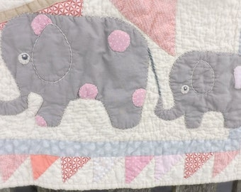 Elephant baby quilt cheerful pink cotton candy coral grey dot tan circus theme elephants on parade zoo nursery flag banner baby girl bedding