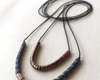 layering Necklace : Matte Hematite and Copper Hematite on Silk Cord Necklace, gifts for her, double tier, layer