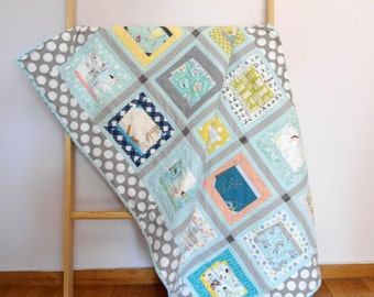 Patchwork Book covers baby quilt, crib size, grey/aqua, story telling quilt, nursery decor, nursery bedding, Shower gift idea, Made to order