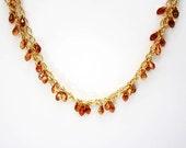Long 14kt Goldfilled Copper Colored Swarovski Crystal Necklace