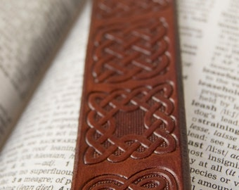 Leather Celtic bookmark with heart design