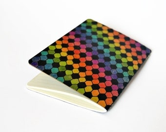 Hexagons Rainbow Pocket Moleskine Squared Mini Journal, hand drawn and painted optical abstract geometry