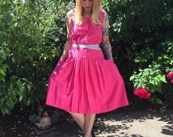 1970s MED pink cotton button up dress with ORIGINAL belt