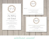 Watercolor Wedding Invitation, RSVP, Details Card (Printable) by Vintage Sweet