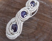 Amethyst Barrette /// Wire Wrap Hair Clip / Barrette