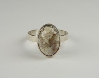 Natural Stone Ring Handmade Silver Ring Artisan Ring Bezel Set Ring Friendship Ring Gifts Lace Agate Ring