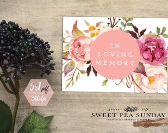 INSTANT DOWNLOAD - 5x7. Printable Watercolour In Loving Memory Sign- DIY, Wedding Ceremony, Guest Book Sign, Cards Box Sign
