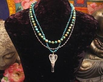 Turquoise Necklace, Angel Necklace, Multi Strand Necklace, Turquoise Statement Necklace, Crystal Angel Pendant, Blue Necklace, Beadwork