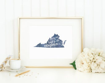 "Virginia State Watercolor Art Print - ""Carry Me Back to Old Virginia"" - Mirabelle Creations"