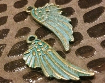 2 Antique Patina and gold tone wing Charms / Jewelry Supply / Craft Supplies / mixed media / jewelry findings / miniature wings / art doll