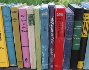 Set of 17 Vintage Books - Antique Book Decor - Photo Props - Wedding Decor - Centerpieces - Colorful Set - Yellow Blue Purple Green -Library
