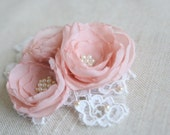 Blush Wedding Bridal Headpiece Vintage Inspired Bridal Hair Accessory Blush Bridal Hair Clip Lace Bridal Hair Piece Chiffon Flower Clip