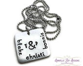 Stamped Jewelry Personalized Jewelry - Square Pewter Family Pendant (Personalized) - Couple Initials Kids Names Custom Pewter Necklace