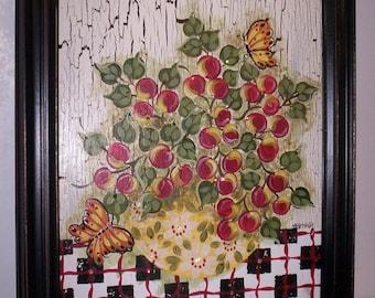 "Shabby Chic Original Acrylic Art Accented With Swarovski Crystals. Framed 15"" x 19""."
