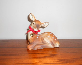 Vintage Deer Statue Cute Reindeer Fawn Figurine Deer with Bell Rudolph Mid Century Home Decor