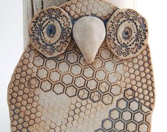 "Ceramic owl wall hanging, owl wall art, ""Honey"", hand built, owl wall decor, owl home decor"