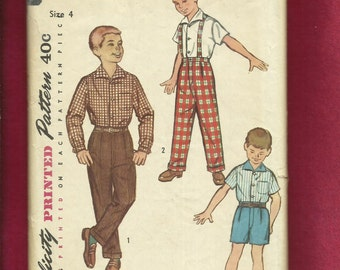 Vintage 1950's Simplicity 1822 Mid Century Boy's Pleated Pants with Suspenders & Shirt Size 4
