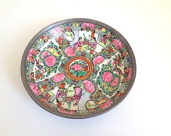 Mid Century Japanese ware Porcelain Plate Pottery - Home Decor for Living Room Table, Made in Hong Kong, Bohemian Chic Decor