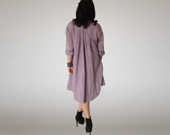 Loose Linen Shirt Tunic Asymmetric Hi Low Linen Shirt Oversized Button Down Shirt  Wide Shirt Plus Size Linen Shirt Tunic /