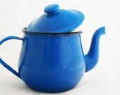 Teapot - Small Periwinkle Blue Enamel Kettle Tea for One