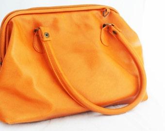 Purse- Medium Orange Faux Leather Handbag with Straps