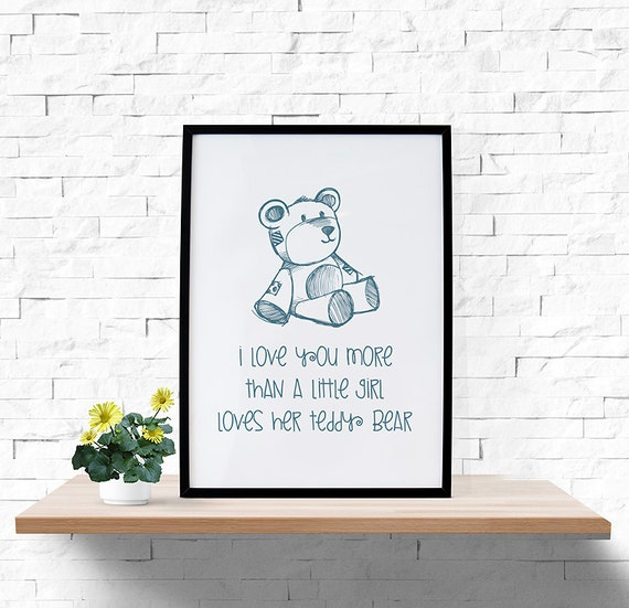 teddy bear i love you more printable wall art 8x10. Black Bedroom Furniture Sets. Home Design Ideas