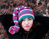 Women elf Hat Multicolor with Pompon. Big Oversized Hat. Crochet Winter Hat. Knit Hat for Women Hood Hat, Pixie Hat, Winter Accessory