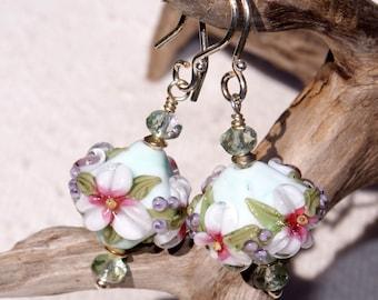 Pastel Flowers on a Mint Green Bicone Lampwork Bead Earrings   578