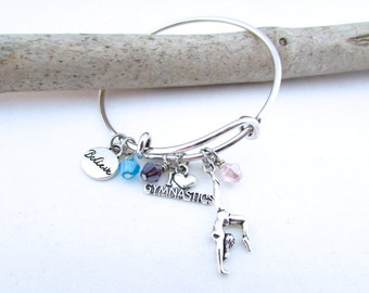 Gymnastics Bangle Bracelet, Gymnastics Gifts, Gymnastics Jewelry, Gymnast Bracelet, Gymnast Gift, Gifts for Gymnast