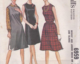 1960s Sleeveless Dress, Jumper & Blouse Pattern McCalls 6959 Size 14