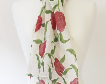 Rose Buds & Leaves Long Cotton Scarf -  White background with dull magenta and green leaves - Fashion 2015 - Spring accessories