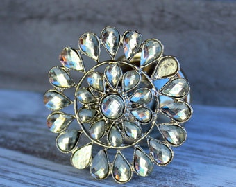 Silver Flower Knob with Clear Glass Crystals Drawer Pull Knob Cabinet Knob Dresser Knob