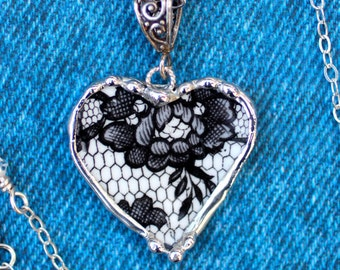 Necklace, Broken China Jewelry, Broken China Necklace, Heart Pendant, Black Lace China, Sterling Silver, Soldered Jewelry