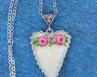 Necklace, Broken China Jewelry, Broken China Necklace, Heart Pendant, Pink Rose Flower Garland China, Sterling Silver, Soldered Jewelry