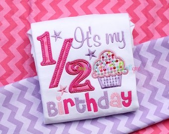 It's My 1/2 Birthday Embroidered Shirt - Half Birthday Shirt - Birthday Shirt - 1/2 Birthday - Happy Half Birthday Shirt - Birthday - 1/2