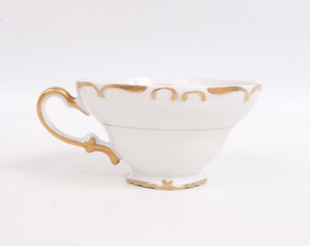 Vintage Amcrest Fine China Chatham Teacup White Porcelain Scroll Gold Trim Made in Japan Ornate Handle Raised Porcelain