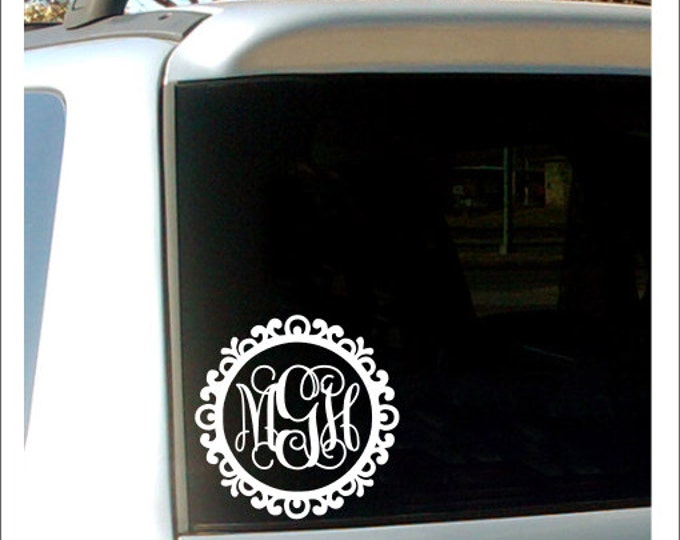 Monogram Car Decal Car Window Decal Vinyl Decal Vinyl Car Decal Personalized Car Decal Southern Preppy Car Decal Girls Women Teen Car Decal