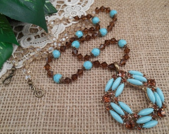 Vintage Lucite Turquoise and Topaz Crystal Pendant ~ Hand Knotted Boho Long Necklace