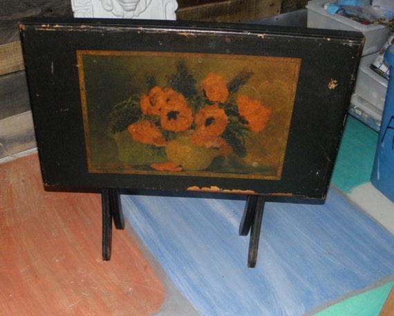 Old Vintage Max Strekenback Red Poppy Painted On Black Folding