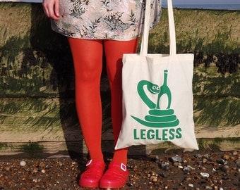 Legless Tote Bag, Snake Bag, Screenprinted Tote, Funny Tote Bag, Screen Print Snake, Animal Tote Bag, Green Reptile Design, Canvas Shopper