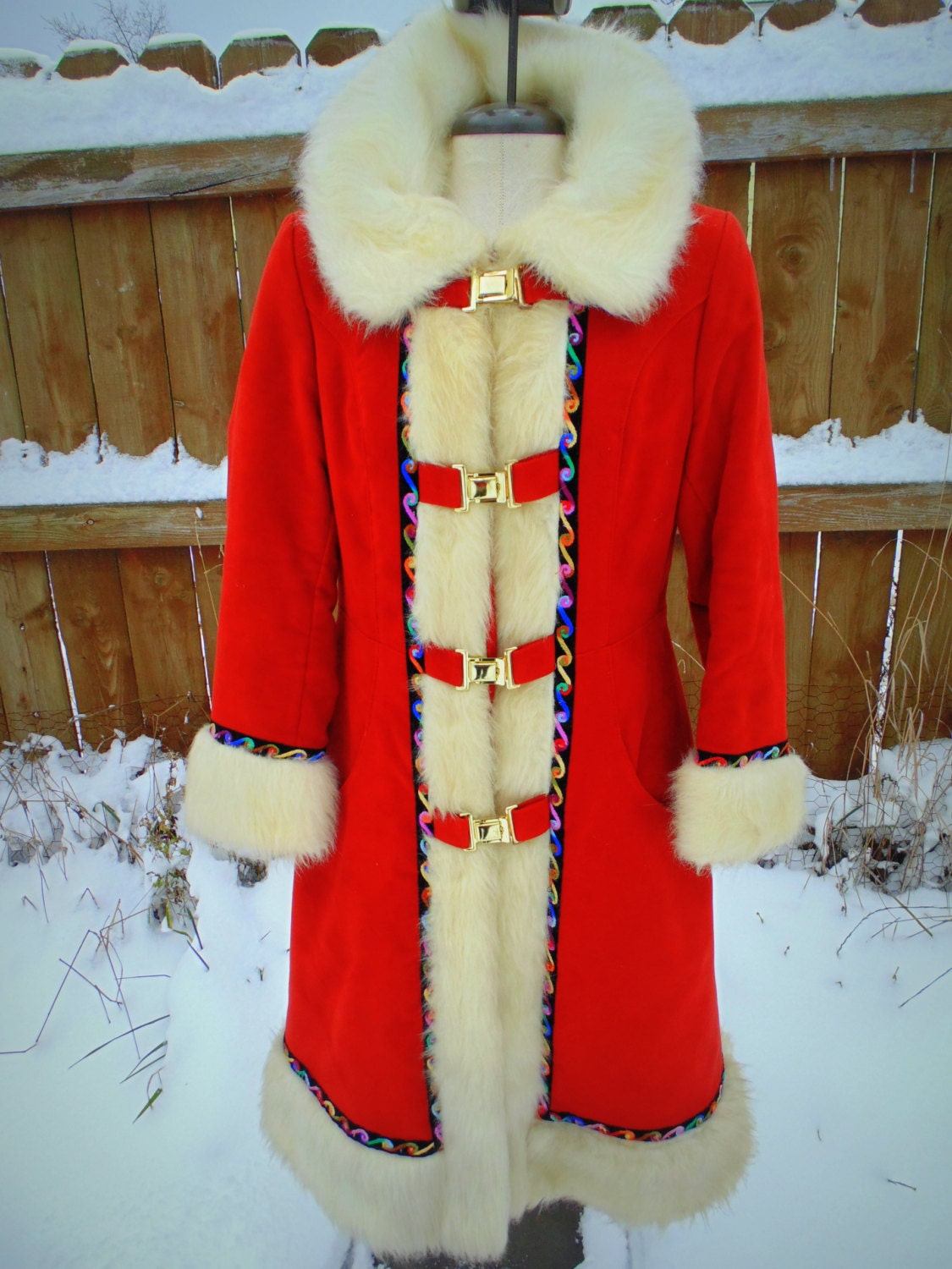 1970s long vintage red coat with white fur trim