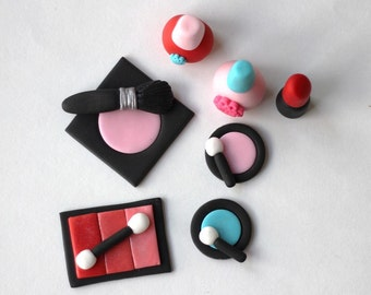 Fondant make-up toppers. Makeup party. Slumber Party Fondant Cake Topper Set. Sleepover Fondant Cake Topper. Glamour fondant toppers.