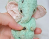 RESERVED for RAUL artist elephant mint green miniature little cute  OOAK   ~3 inch