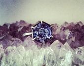 Purple Swarovski Crystal Hexagon Ring - Adjustable