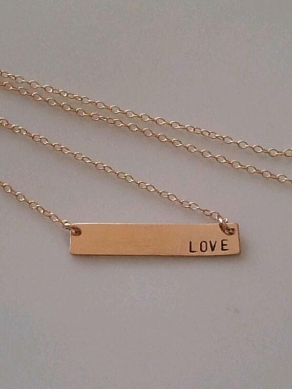 gold bar necklace horizontal bar custom hand by denisedesignes. Black Bedroom Furniture Sets. Home Design Ideas