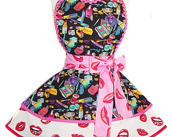 "Made to Order-""Makeup & Kisses"" Diner Style Apron --A Tie Me Up Aprons Exclusive Design"