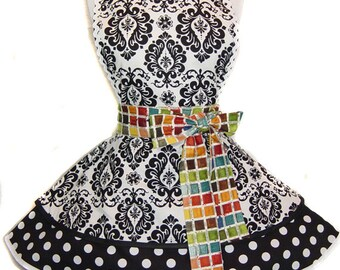 "READY TO SHIP-Elegant ""B&W Paintbox"" Pinup/Diner Style Apron -- A  Tie Me Up Aprons Exclusive!"