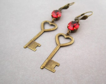 Heart Key Earrings Bright Red Crystal Vintage Stone Romantic Anniversary Gift For Women Valentine Jewelry Long Skeleton Key Antiqued Brass