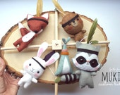 Forest Baby Mobile, Peter Pan nursery, Indian Tribal Crib Mobile,  Crib Baby Mobile, Raccoon, Fox, Bear, Rabbit